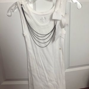 White Ribbed Tank with Chain Necklace and Bow
